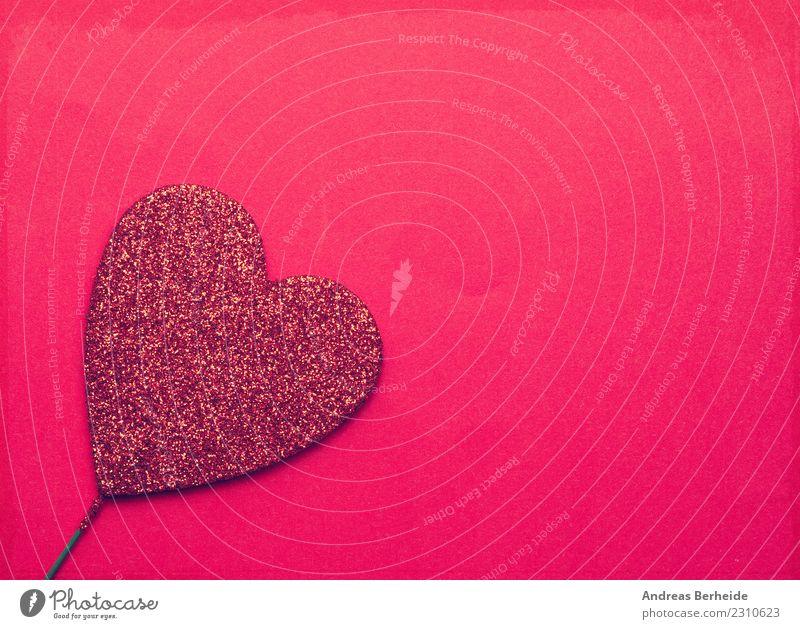 Rotes Glitzerherz auf rotem Hintergrund Hintergrundbild Liebe Zusammensein Design retro Geburtstag Herz Romantik Hochzeit Symbole & Metaphern Kitsch