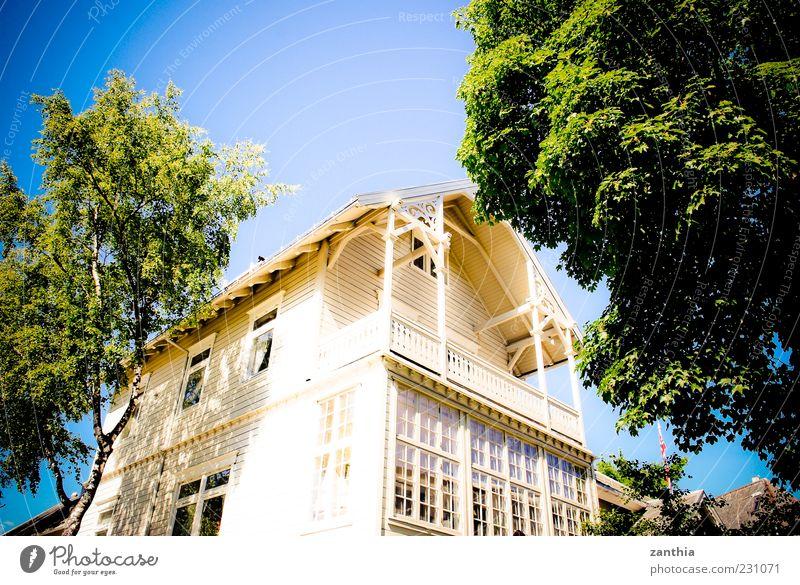 Home weiß Baum Ferien & Urlaub & Reisen Haus Fenster Architektur hell Fassade Perspektive Balkon Norwegen Wolkenloser Himmel Skandinavien Einfamilienhaus Holzhaus