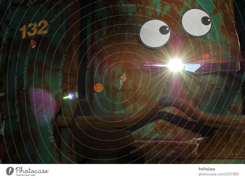 castor Sonne Gesicht Auge Angst Mund verrückt Zukunft leuchten Ziffern & Zahlen Güterverkehr & Logistik Comic Sorge Container Fantasygeschichte Straßenkunst