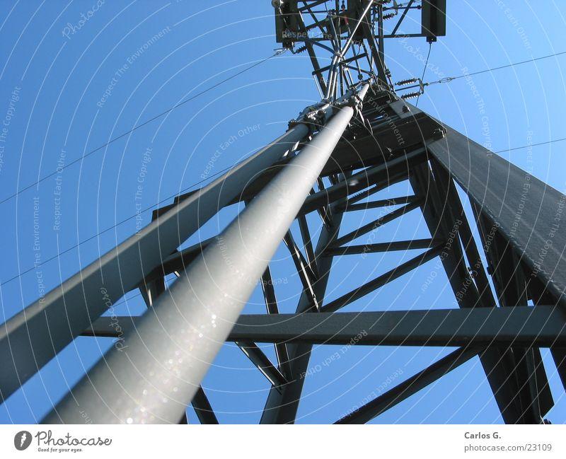 Strommast 2 Elektrizität Umspannwerk Himmel Kabel Umspannen Bildausschnitt Detailaufnahme Zentralperspektive himmelwärts vertikal aufwärts Froschperspektive
