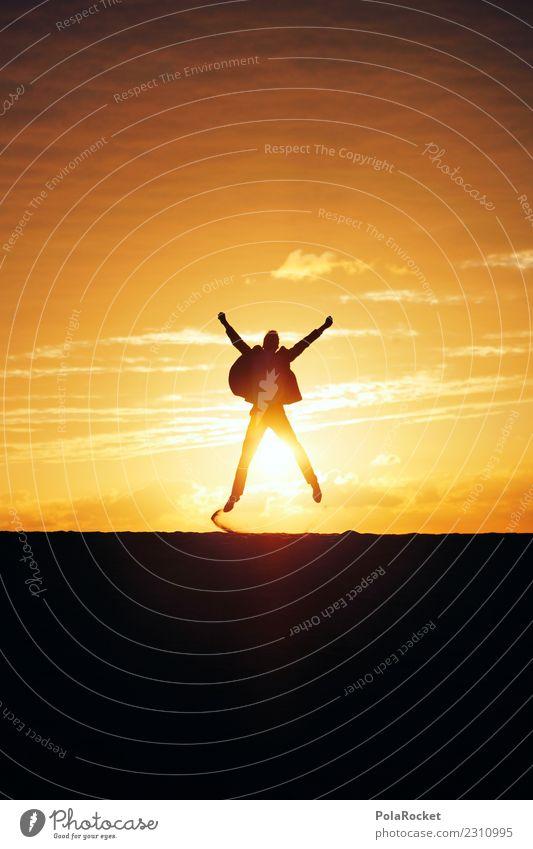 #AS# Big Jump Kunst Kunstwerk ästhetisch springen Business Erfolg Erfolgsaussicht Durchbruch Sonne Freude Millionär Freudenfeuer Freudenspender Horizont Anzug