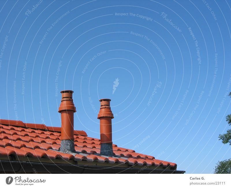 Lufttürme Himmel blau Haus Architektur Dach Oberbayern Lufthutze