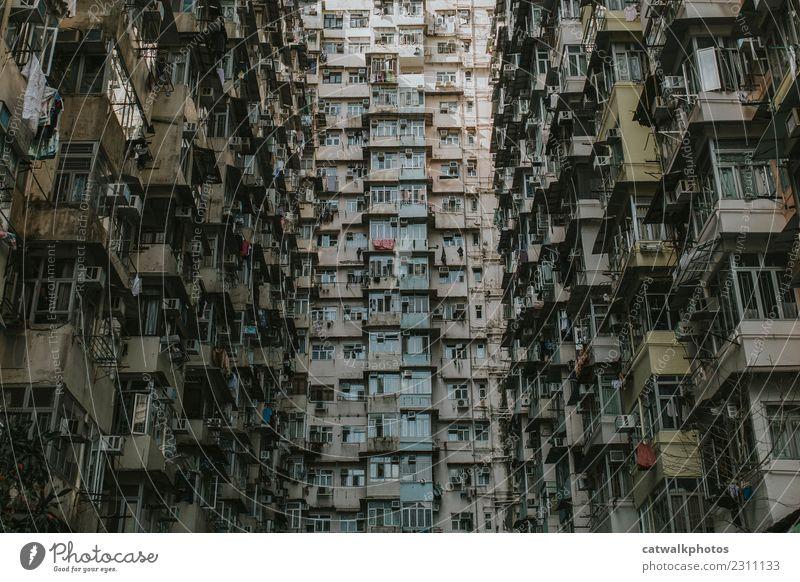 Hongkong Architektur Stadt Stadtzentrum bevölkert überbevölkert Haus Mauer Wand Fenster Sehenswürdigkeit Umweltverschmutzung Ferien & Urlaub & Reisen Ziel