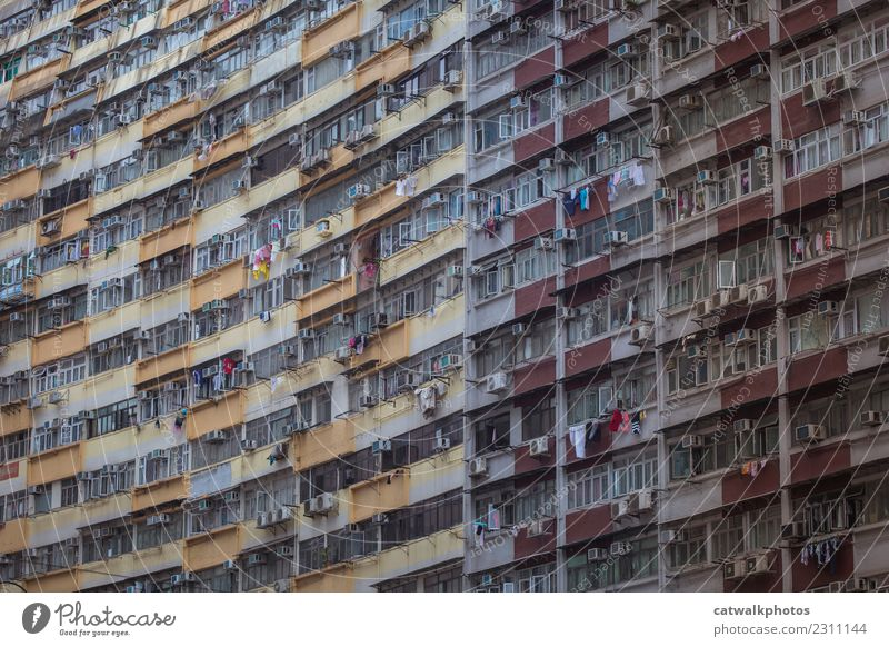 Stadt Haus Fenster Architektur Wand Gebäude Mauer Wahrzeichen Balkon Umweltverschmutzung Hongkong