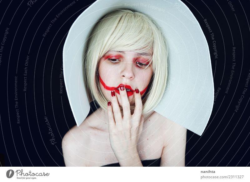 Künstlerisches Portrait über Make-up und Modeindustrie Reichtum elegant Stil Design exotisch schön Haare & Frisuren Haut Gesicht Schminke Lippenstift Mensch