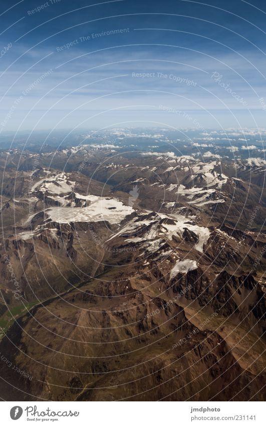 Alpen Natur Himmel weiß blau Sommer Ferien & Urlaub & Reisen Wolken oben Berge u. Gebirge Freiheit Landschaft Luft braun Erde Horizont