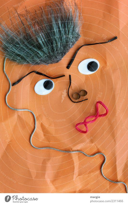 Emotionen...coole Gesichter: Aschermittwoch Mensch Mann rot Auge Erwachsene grau orange maskulin Mund Nase