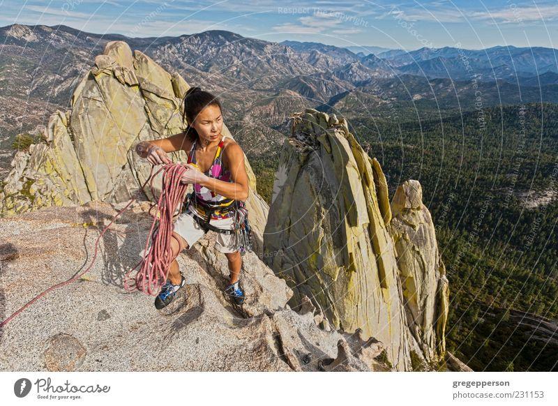 Kletterer, der sich an eine Klippe klammert. Abenteuer Sport Klettern Bergsteigen Erfolg Seil Junge Frau Jugendliche 1 Mensch 18-30 Jahre Erwachsene Natur