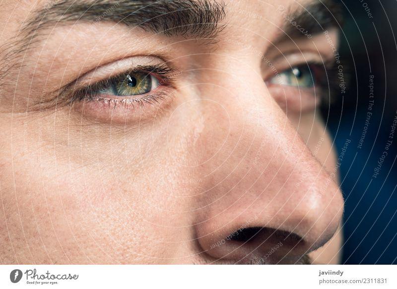 Nahaufnahme der Augen des Mannes schön Haut Gesicht Mensch Junger Mann Jugendliche Erwachsene 1 30-45 Jahre grün schließen nach oben Aussicht Sehvermögen