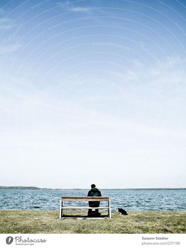 MannHundundMeer Strand Einsamkeit ruhig Landschaft Küste Stimmung Wellen sitzen maskulin Hoffnung Pause Bank Sehnsucht Schönes Wetter