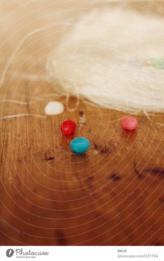 Mini-Home-Rugel blau schön rot Holz klein braun rosa liegen Tisch Dekoration & Verzierung rund Ostern Süßwaren Tradition Zucker strohig