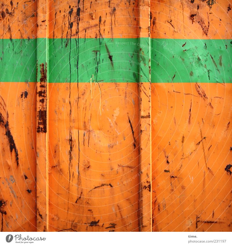 fruchtorange | lindgrün Container Metall Rost Streifen kaputt Farbe Metallwaren Kratzer Spuren Beule Behälter u. Gefäße parallel horizontal vertikal gebraucht