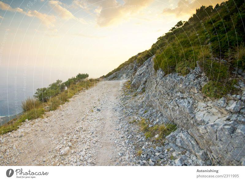 der Weg zum Meer Umwelt Natur Landschaft Pflanze Wasser Himmel Wolken Sonne Sommer Wetter Schönes Wetter Baum Berge u. Gebirge Albanien Wege & Pfade groß hell