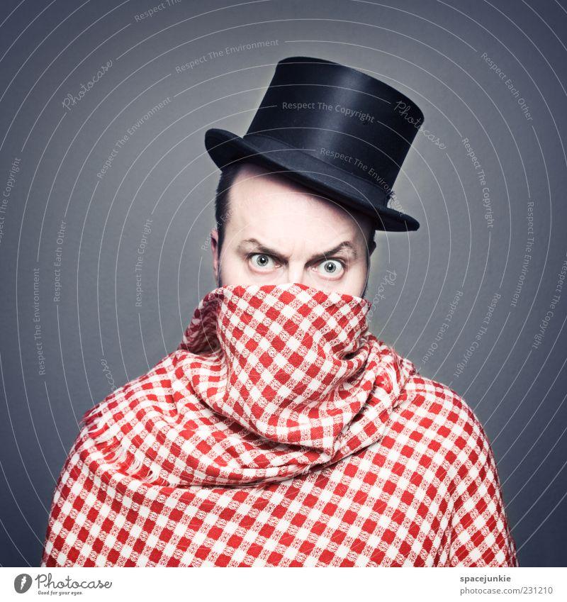 Tarnung (2) Mensch Mann weiß rot schwarz Erwachsene Auge Angst maskulin verrückt außergewöhnlich bedrohlich einzigartig Hut skurril verstecken