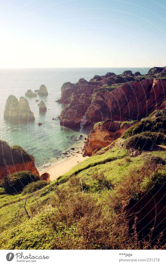 ode to the sun. Lagos Küste Felsen Felsküste Strand Traumstrand Sand Bucht Klippe Ferien & Urlaub & Reisen Algarve Portugal Urlaubsfoto Meer Atlantik Sandstein