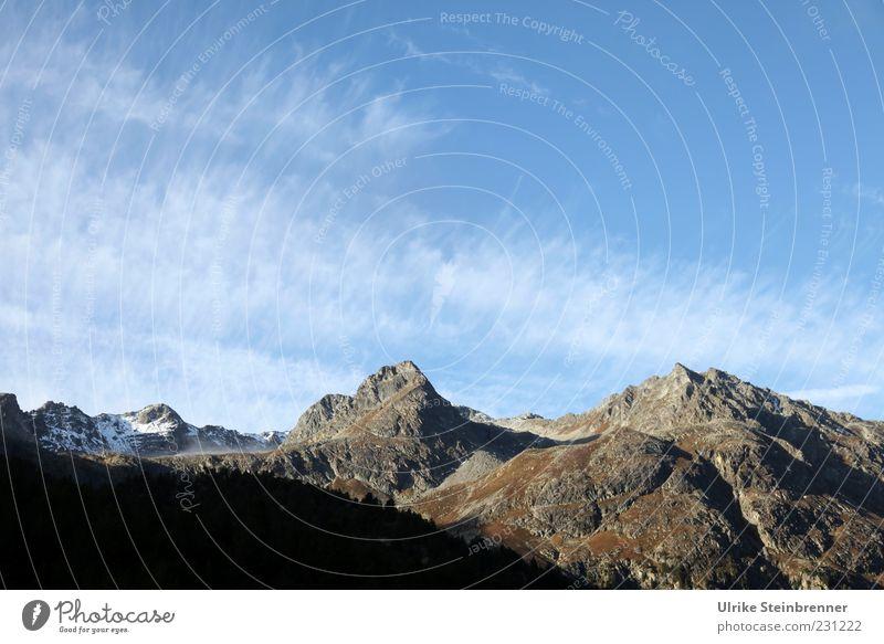 Gipfelerlebnis Himmel Natur Ferien & Urlaub & Reisen Wolken ruhig Einsamkeit Ferne Herbst Schnee Landschaft Berge u. Gebirge Felsen natürlich Ausflug Tourismus
