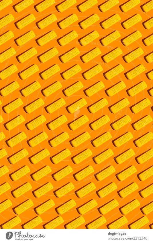 TV-Fernbedienung Spielen Entertainment Bildschirm Technik & Technologie Fernsehen Coolness hell gelb Farbe Kontrolle FERNSEHER abgelegen Hintergrund wiederholt