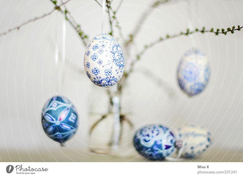Ostereier blau weiß Frühling Glas Dekoration & Verzierung Sträucher Ast Ostern Ei hängen Vase zerbrechlich bemalt filigran Zweige u. Äste