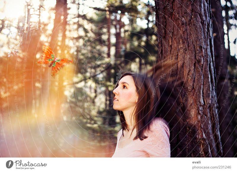 Fly away with me feminin Junge Frau Jugendliche Erwachsene Kopf Haare & Frisuren Gesicht 1 Mensch 18-30 Jahre Baum Wald Schmetterling Tier beobachten gelb rosa