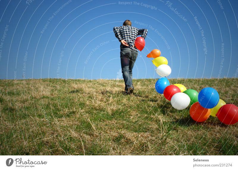 bunte Luftschlösser Mensch Himmel Natur Sonne Sommer Freude Wiese Umwelt Spielen Freiheit Gras Garten Frühling Wetter Feste & Feiern Horizont