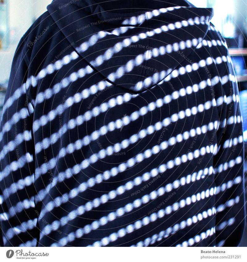 Vom Licht gestreift 6 Mann blau weiß Erwachsene Mode Rücken warten außergewöhnlich stehen Bekleidung Punkt trendy Lichtspiel kopflos Muster