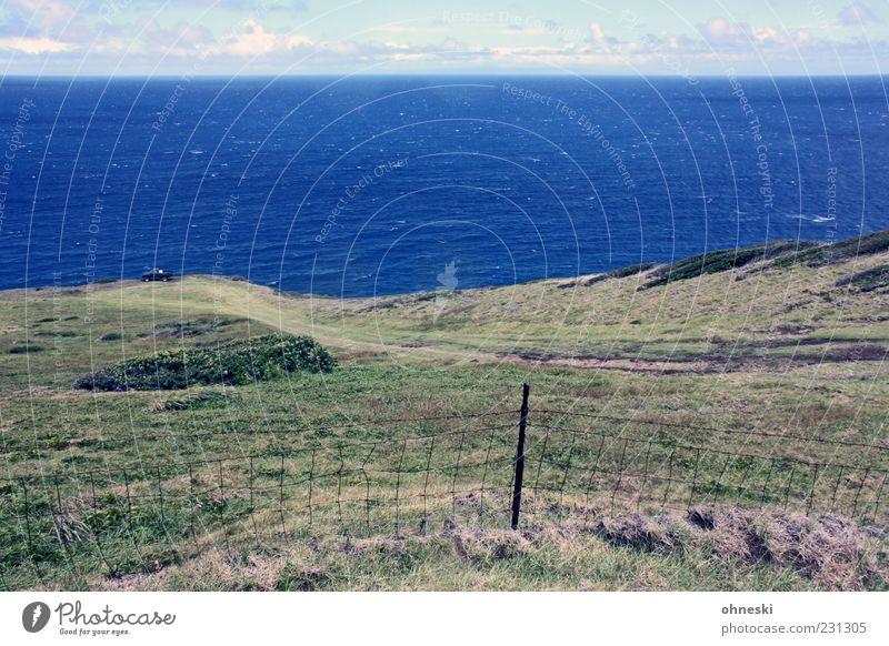 Parkplatz Umwelt Natur Landschaft Erde Wasser Himmel Wolken Gras Wellen Küste Meer Pazifik Hawaii Maui blau Ferne Zaun Farbfoto Außenaufnahme Menschenleer