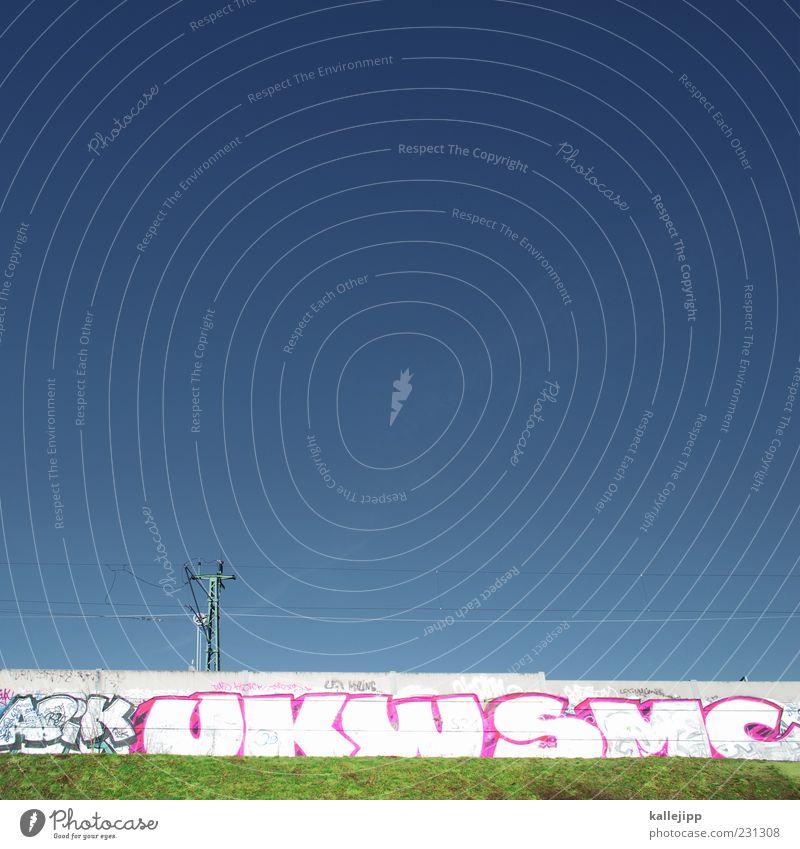ssssssssssssssss21 blau grün Graffiti grau rosa Energiewirtschaft Schriftzeichen Elektrizität Kabel Technik & Technologie Verkehrswege Strommast Personenverkehr Blauer Himmel Wolkenloser Himmel Oberleitung