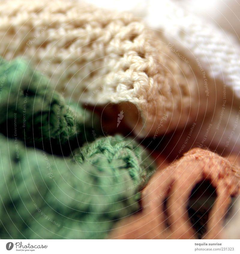 Strickwerk grün weiß gelb orange gold Freizeit & Hobby Bekleidung Stoff Handarbeit gestrickt Topflappen gehäkelt