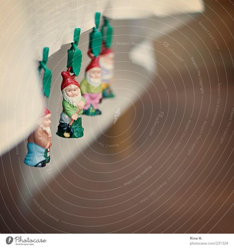GartenZwergAlarm ! Sommer Frühling lustig klein außergewöhnlich niedlich Lebensfreude festhalten Kitsch hängen trashig Tischwäsche sommerlich Klammer hängend