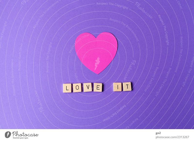 Love it! Freizeit & Hobby Entertainment Party Veranstaltung Feste & Feiern Valentinstag Hochzeit Geburtstag Show Zeichen Schriftzeichen Herz positiv violett