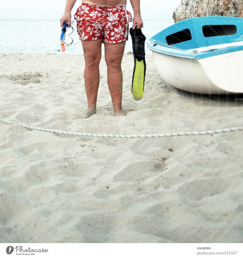 Der Muscheltaucher. Haut Ferien & Urlaub & Reisen Ferne Freiheit Sommer Sommerurlaub Sonne Sonnenbad Meer Wassersport Mensch maskulin Beine Fuß 1 Hose