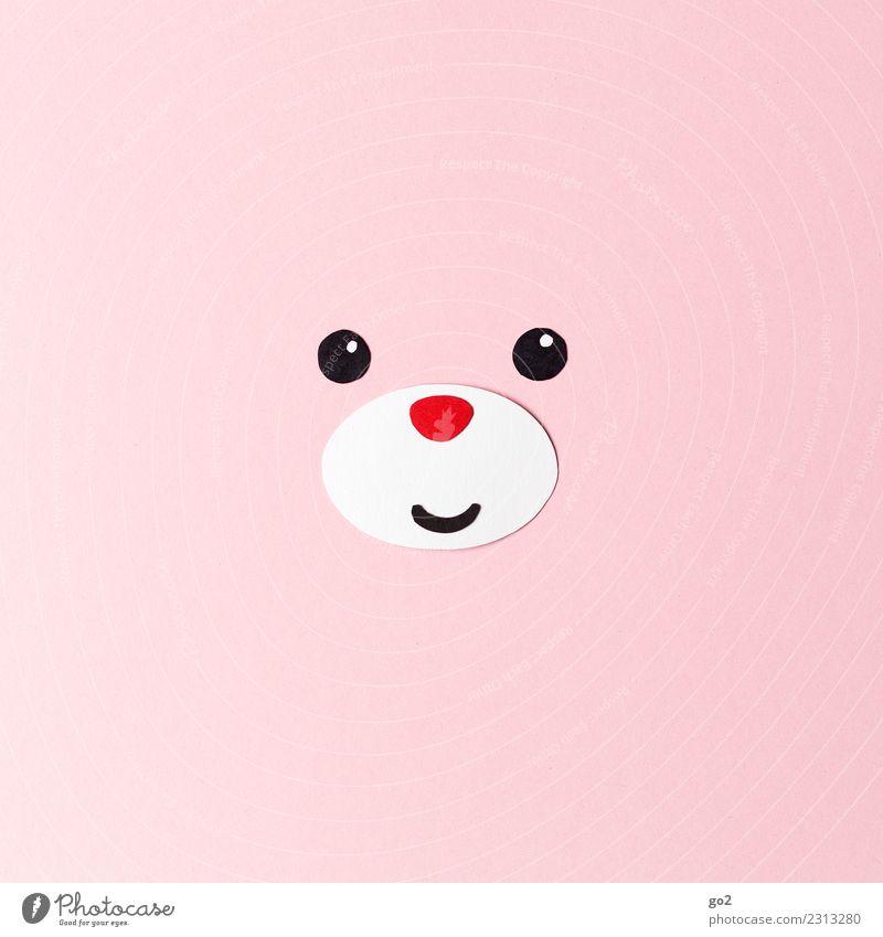 Glücksbär Basteln Tier Tiergesicht Bär 1 Papier Dekoration & Verzierung Stofftiere Lächeln Freundlichkeit Fröhlichkeit niedlich rosa rot Gefühle Freude Liebe