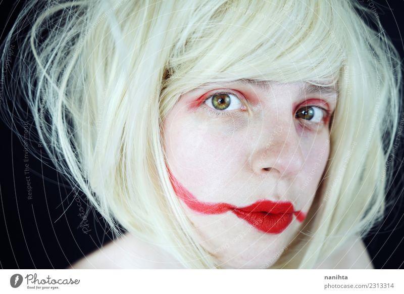 Künstlerisches Porträt einer jungen und fremden Frau Stil exotisch schön Haare & Frisuren Haut Gesicht Schminke Lippenstift Mensch feminin Junge Frau