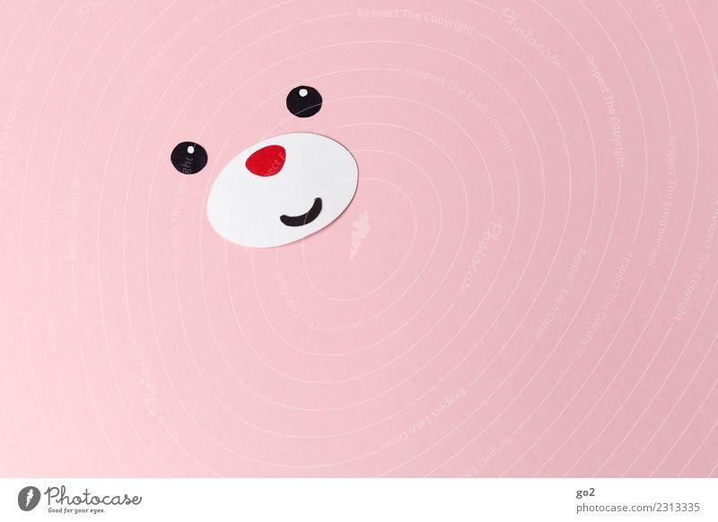 Glücksbär Basteln Tier Tiergesicht Bär 1 Papier Dekoration & Verzierung Lächeln Freundlichkeit Fröhlichkeit niedlich rosa rot Gefühle Freude Liebe Tierliebe