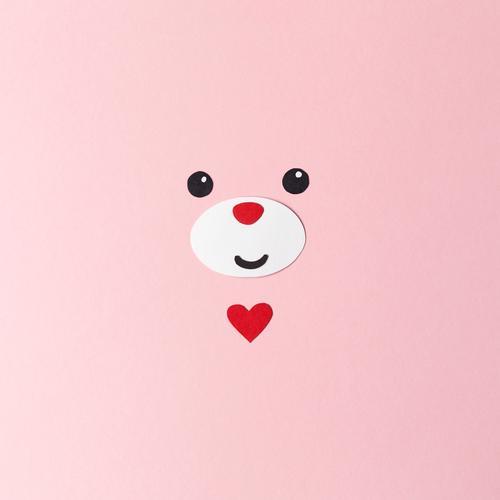Glücksbär Basteln Valentinstag Geburtstag Tier Tiergesicht Bär 1 Papier Dekoration & Verzierung Zeichen Herz niedlich rosa rot Gefühle Fröhlichkeit Geborgenheit