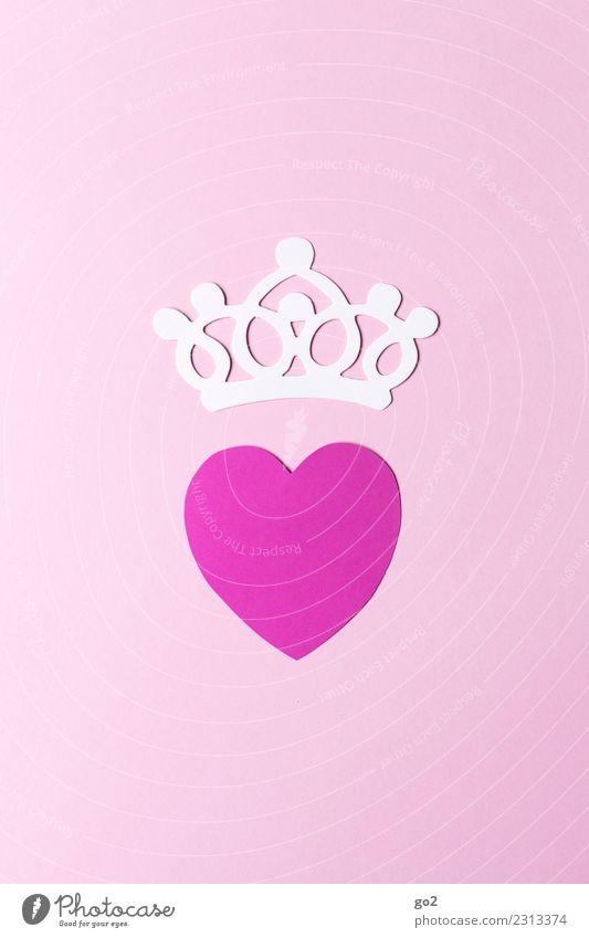 Ein Herz und eine Krone schön weiß Liebe Gefühle Stil Glück Feste & Feiern rosa Zusammensein Freundschaft Dekoration & Verzierung Geburtstag Lebensfreude