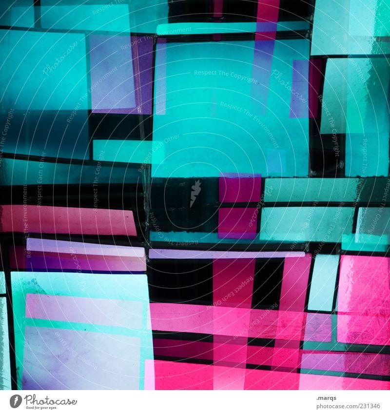 Square Farbe Stil Linie Kunst rosa Glas Design modern verrückt außergewöhnlich Dekoration & Verzierung leuchten Coolness Lifestyle einzigartig skurril