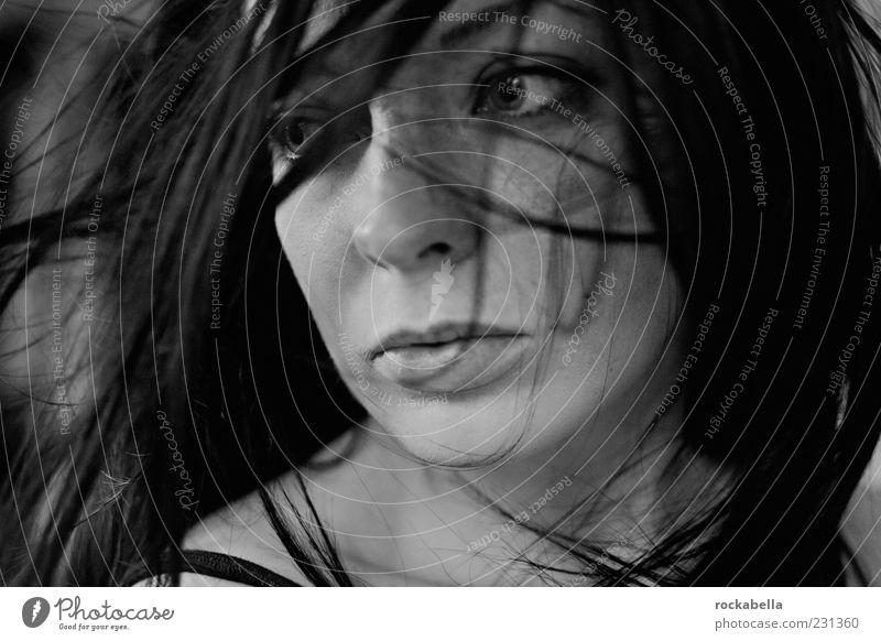 es war nicht einfach so vorbei. Mensch Jugendliche schön Gesicht Erwachsene feminin dunkel Gefühle Bewegung ästhetisch authentisch Coolness einzigartig
