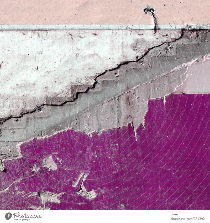 Einkaufsparadies (lost version) Mauer Wand Treppe Stein kaputt grau violett rosa weiß chaotisch Endzeitstimmung Farbe Verfall Vergangenheit Vergänglichkeit Putz