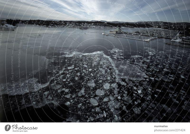das Ziel Natur Ferien & Urlaub & Reisen Ferne Winter Umwelt Küste Horizont Eis ästhetisch Ausflug Frost Bucht Hafen Schifffahrt Städtereise Hafenstadt