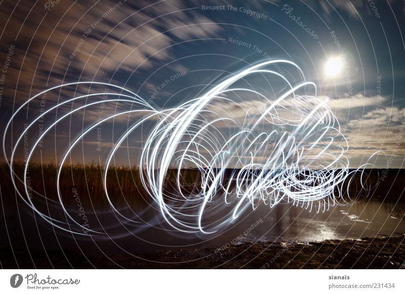 tasmanischer teufel Natur Landschaft Wasser Nachthimmel Seeufer zeichnen dunkel Surrealismus malen Taschenlampe geisterhaft Spirale Sog Zauberei u. Magie