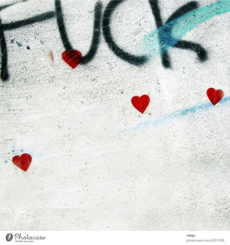 Mucke... Lifestyle Jugendkultur Mauer Wand Beton Zeichen Schriftzeichen Graffiti Herz frech rot Gefühle Liebe Begierde Lust Sex Gesellschaft (Soziologie)