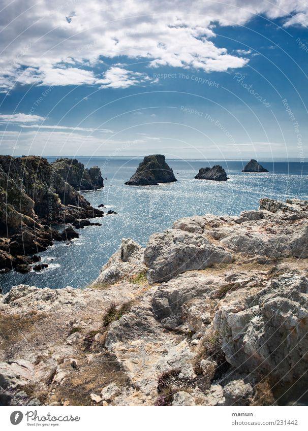 Erbsenhaufen - tas de pois Natur schön Himmel Meer blau Ferien & Urlaub & Reisen Wolken Ferne Landschaft Küste Horizont Felsen authentisch Reisefotografie fantastisch natürlich
