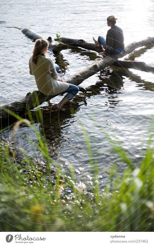 Einfach da Mensch Natur Jugendliche Ferien & Urlaub & Reisen Sommer ruhig Erwachsene Ferne Erholung Umwelt Leben Freiheit Gras See träumen Freundschaft