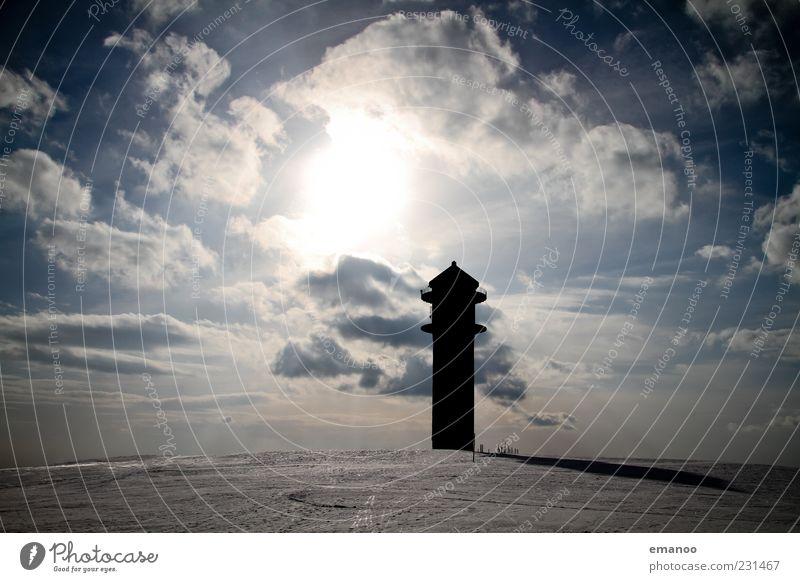 Wetterwarte Ferien & Urlaub & Reisen Tourismus Ausflug Winter Schnee Natur Landschaft Wasser Himmel Wolken Klima Eis Frost Berge u. Gebirge Gipfel Turm Bauwerk