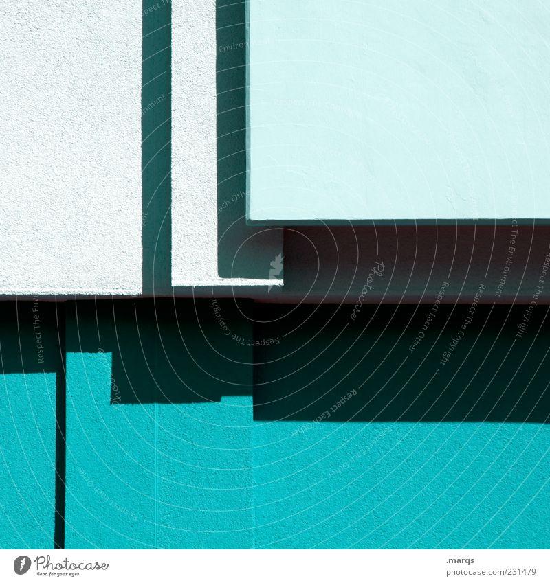 Balkon Farbe Architektur Stil Linie Beton Design modern Lifestyle einfach Sauberkeit Balkon türkis trendy Geometrie eckig graphisch