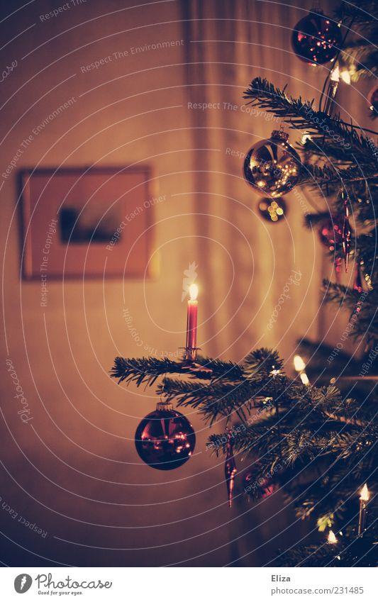 Osterbaum braun Weihnachtsbaum Kerze Christbaumkugel Ambiente besinnlich Wohnzimmer Kerzenschein Licht altehrwürdig Innenaufnahme Schwache Tiefenschärfe