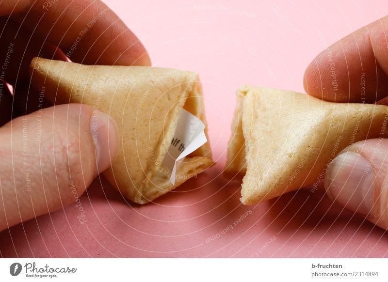 Chinese style fortune cookie with paper mottos Süßwaren Mann Erwachsene Finger entdecken festhalten Blick rosa Glück Neugier Glückskeks aufmachen Keks Zettel