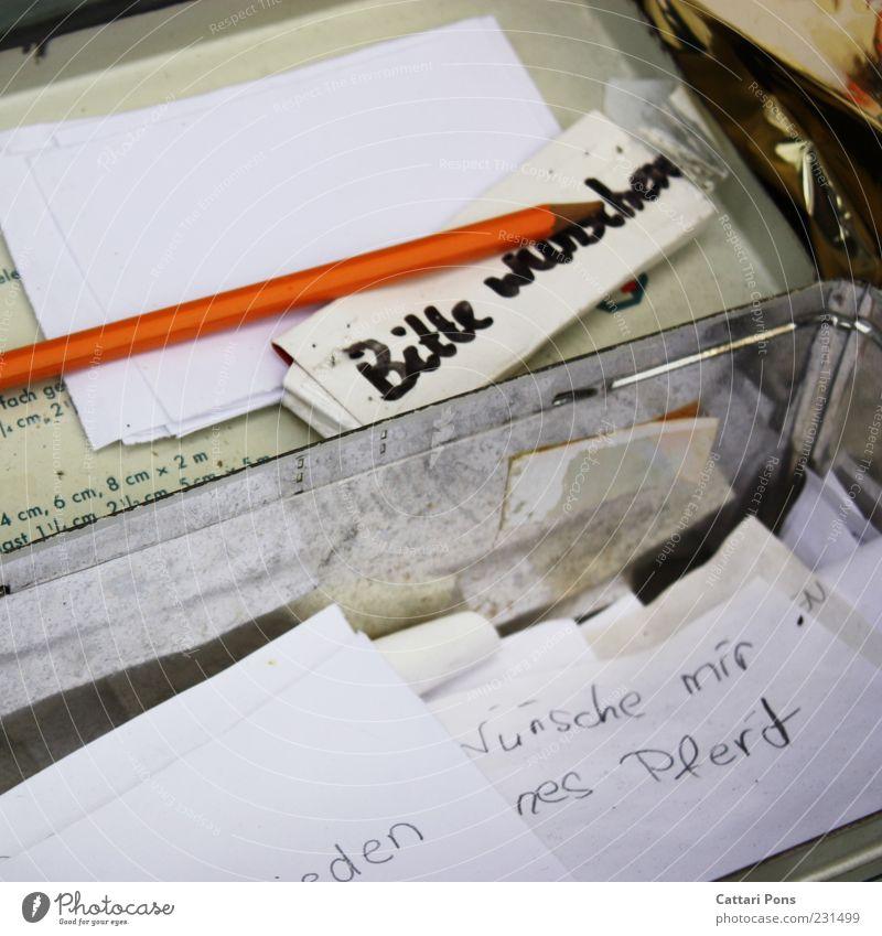 Bitte wünschen. alt weiß rot schwarz außergewöhnlich liegen authentisch Kindheit Idee Papier Hoffnung Wunsch Stahl Wort positiv silber