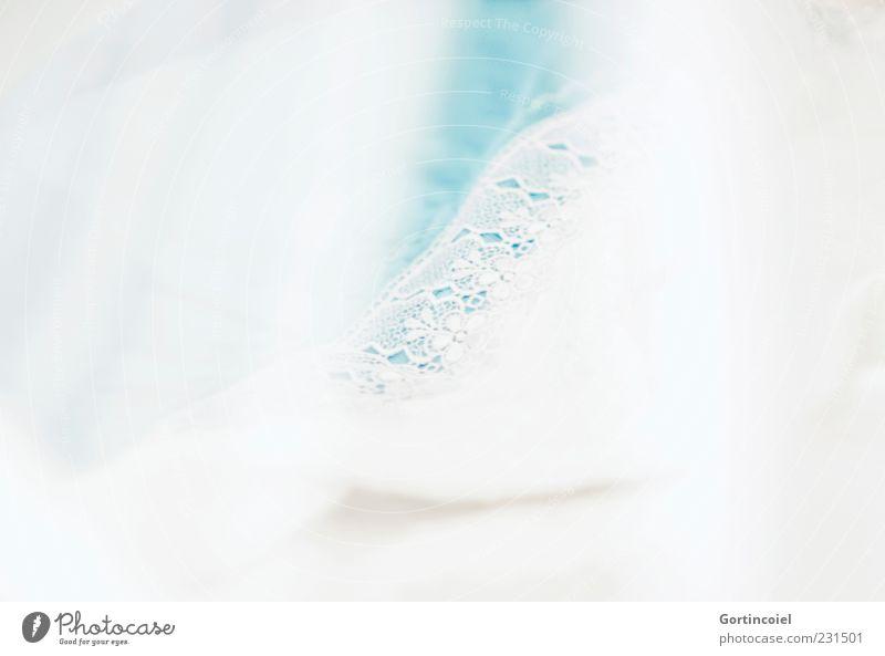 Handarbeit Dekoration & Verzierung weich weiß türkis Stoff Textilien Schleier sanft zart leicht Wohlgefühl Farbfoto Gedeckte Farben Detailaufnahme Muster